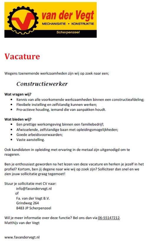 Vacature Constructiewerker